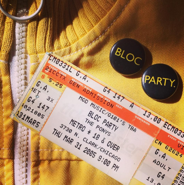 the jacket i wore that night, along with the ticket stub and buttons from the show.